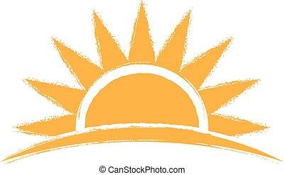 salida del sol, mano, dibujado, logo., vector, gráfico,...