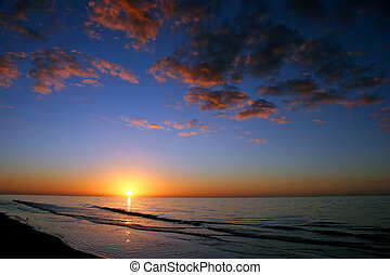 salida del sol, océano