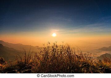 salida del sol, paisaje, naturaleza