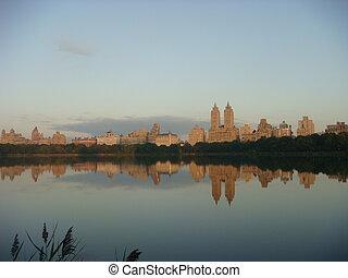 salida del sol, parque central, nueva york