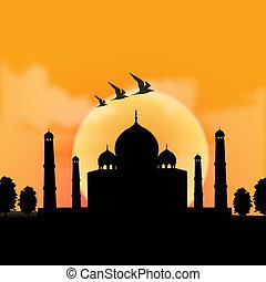 salida del sol, plano de fondo, vista, taj, india, mahal, ...