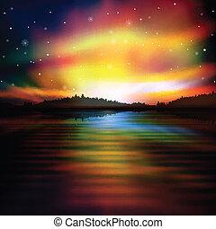salida del sol, resumen, lago, plano de fondo, bosque