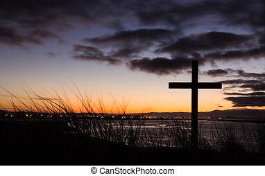 salida del sol, salvación, cruz