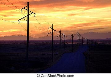 salida del sol, silhouetted, o, ocaso, sihouette, líneas, potencia