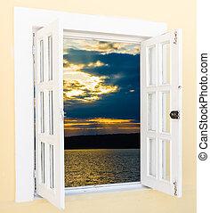 salida del sol, vista, de, el, ventana