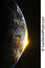 salida del sol, vista, de, tierra