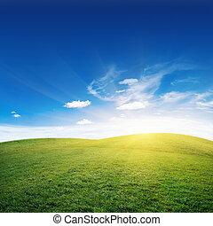 salida del sol, y, colinas