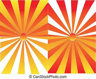 salida del sol, y, ocaso, reflexiones, ilustración