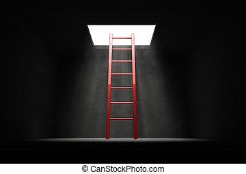 salida, el, oscuridad, -, rojo, escalera, a, el, luz