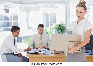 salida, encendido, oficina, mujer de negocios, después, ser