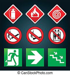salida fuego, puerta, emergencia, señales