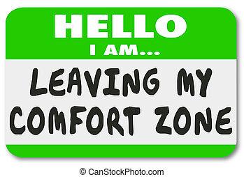 salida, mi, comodidad, zona, etiquetadel nombre, pegatina,...