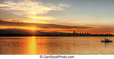 salida sol anaranjada, encima, vancouver