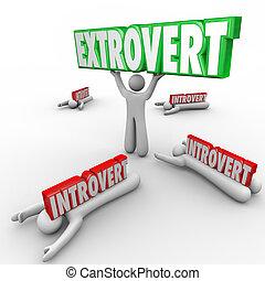 saliente, gente, carácter, uninhibited, contra, introvertido...