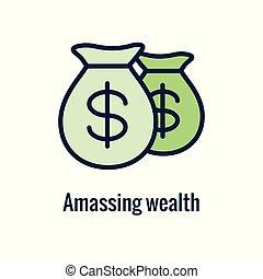 saliente, icono, ahorros, imágenes, y, retiro, monetario