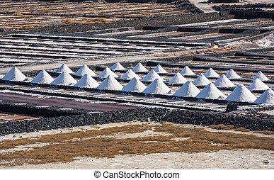 Salinas de Janubio, saltworks in Lanzarote, Canary Islands,...