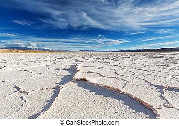 Salinas in Argentina - Salt desert in the Jujuy Province,...