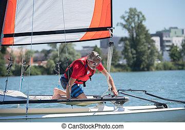 saling, bateau, homme