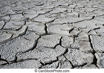 Salinized eroded soil - dry cracked earth