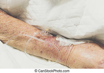 salino, hospitalar, paciente, intravenous