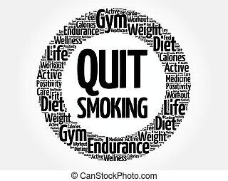 salir, círculo, palabra, nube, fumar