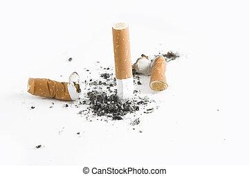 salir, concepto, encima, -, cigarrillo, empalma, fumar, blanco