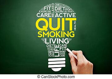 salir, fumar, bombilla, palabra, nube