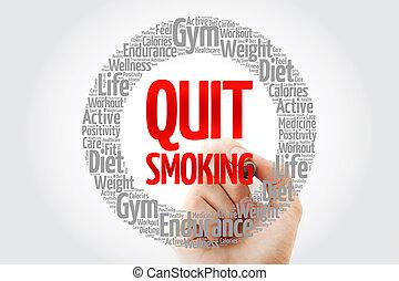salir, palabra, collage, marcador, fumar, nube