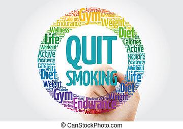 salir, palabra, estampilla, fumar, círculo, nube
