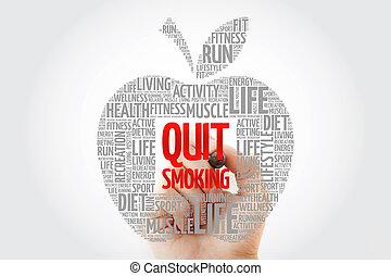 salir, palabra, manzana, marcador, fumar, nube