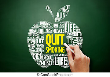 salir, palabra, manzana, nube, fumar