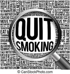 salir, palabra, nube, fumar
