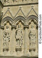 Salisbury Cathedral facade in UK - Details of Salisbury...