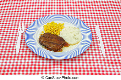 Salisbury steak gravy dinner on red checkerboard cloth