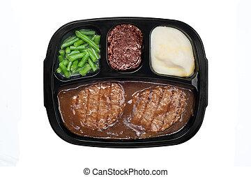 Salisbury TV dinner - An unhealthy Salidbury steak TV dinner...