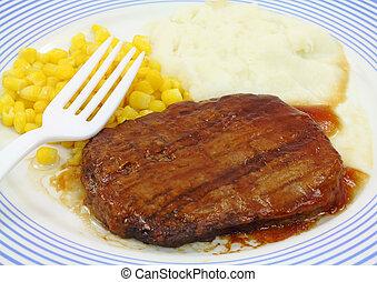 salisbury, vue, fin, dîner, bifteck