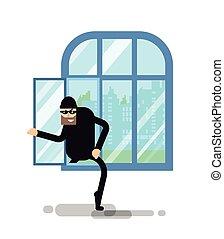 salite, isolato, illustrazione, ladro, finestra, attraverso