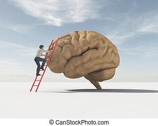 salite, scala, sostenuto, brain., uomo
