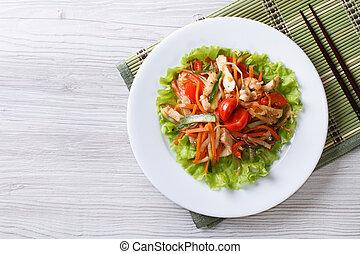 sallad, grönsaken, topp, varm, horisontal, höna, synhåll