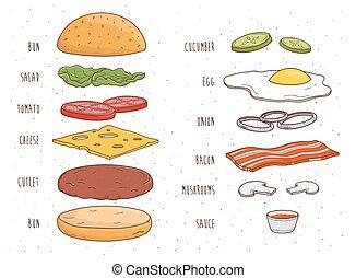 sallad, hamburgare, illustration., färgrik, ingredienser,...