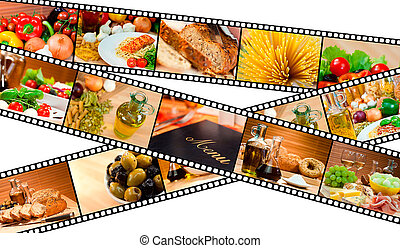 sallad mat, meny, montage, remsa, pasta, film, bread