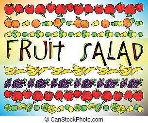 sallad, vektor, menu., illustration, frukt