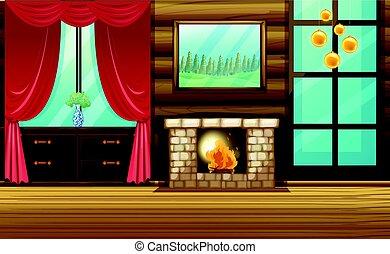 salle, à, cheminée, et, rideau rouge