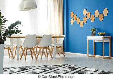 salle, à, mur bleu, accent