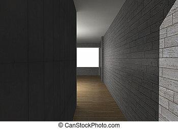 Salle, à, Mur Brique, Et, Plancher Bois
