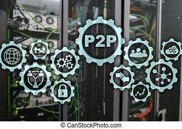 salle, écran, virtuel, serveur, arrière-plan., p2p, pair, ...