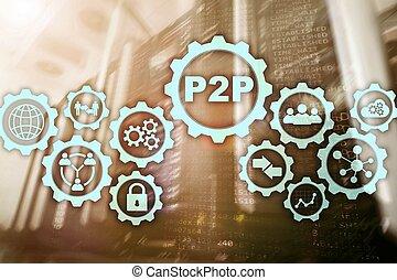 salle, écran, virtuel, serveur, p2p, fond, pair, peer.