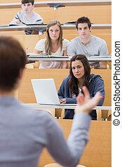 salle, étudiants, conférence, écoute, séance