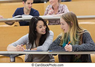 salle, étudiants, conférence, conversation