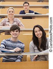 salle, étudiants, conférence, heureux, séance
